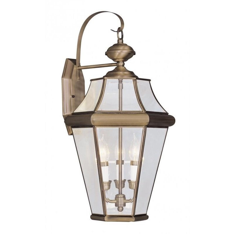 Livex Georgetown Outdoor Wall Lantern in Antique Brass