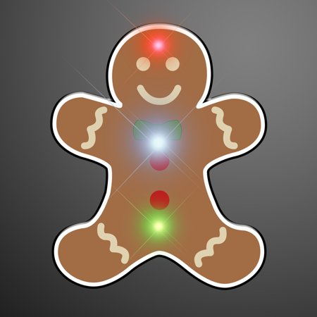 FlashingBlinkyLights Gingerbread Man Flashing Blinking Light Up Body Lights Pins Pack ()