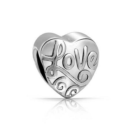 Love Words Heart Shape Charm Bead For Women For Girlfriend Teen 925 Sterling Silver Fits European Bracelet