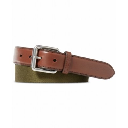 Polo Ralph Lauren NEW Brown Olive Webbed Roller Buckle Size 42 (Polo Ralph Lauren Brown Frame)