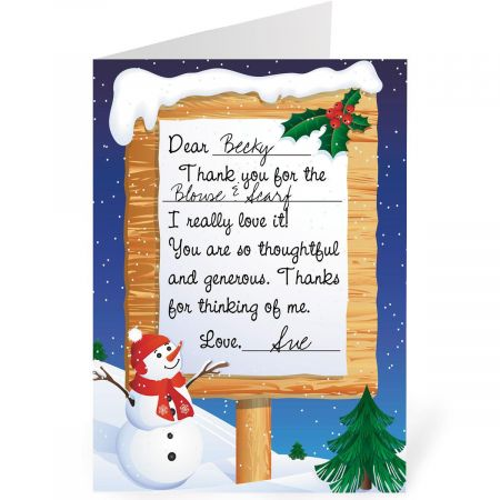 Winter Snow Thank You Cards- Christmas Cards, Set of 24