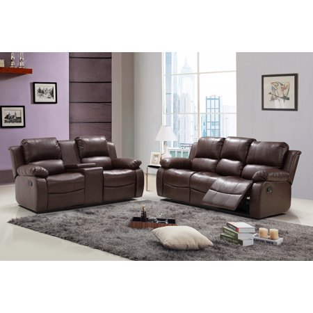 - Algeciras 2 pc Reddish Brown Bonded Leather Living Room Reclining Sofa with Tea Table and Loveseat set with Console