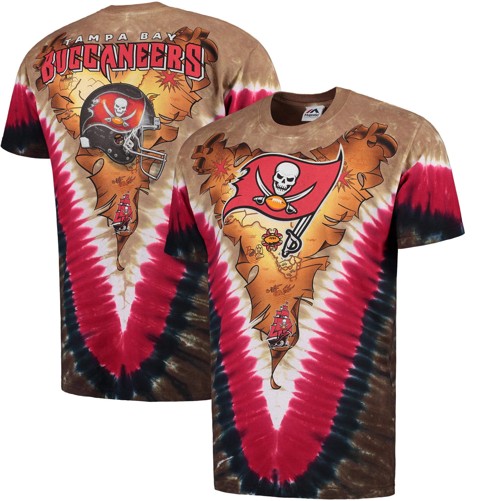 Tampa Bay Buccaneers Majestic V-Design Dye T-Shirt - Tan/Red