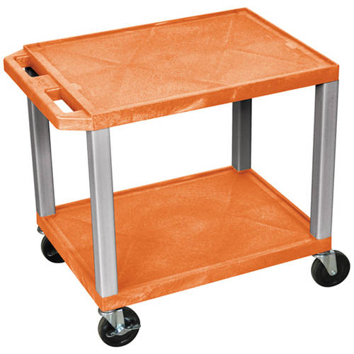 H. Wilson Tuffy 2-Shelf A/V Cart with Electric, Orange Shelves and Nickel Legs