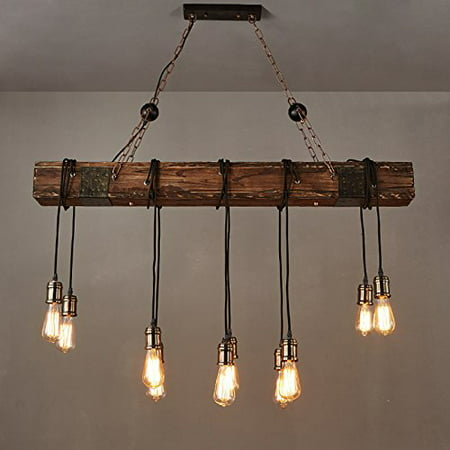 110v 35 E26 Wood Beam Rustic Farmhouse Ceiling Fixture Chandelier Pendant Lighting Fixture Kitchen Dining Room Bar Hotel Industrial Decor 10 Bulbs Not Included Walmart Canada