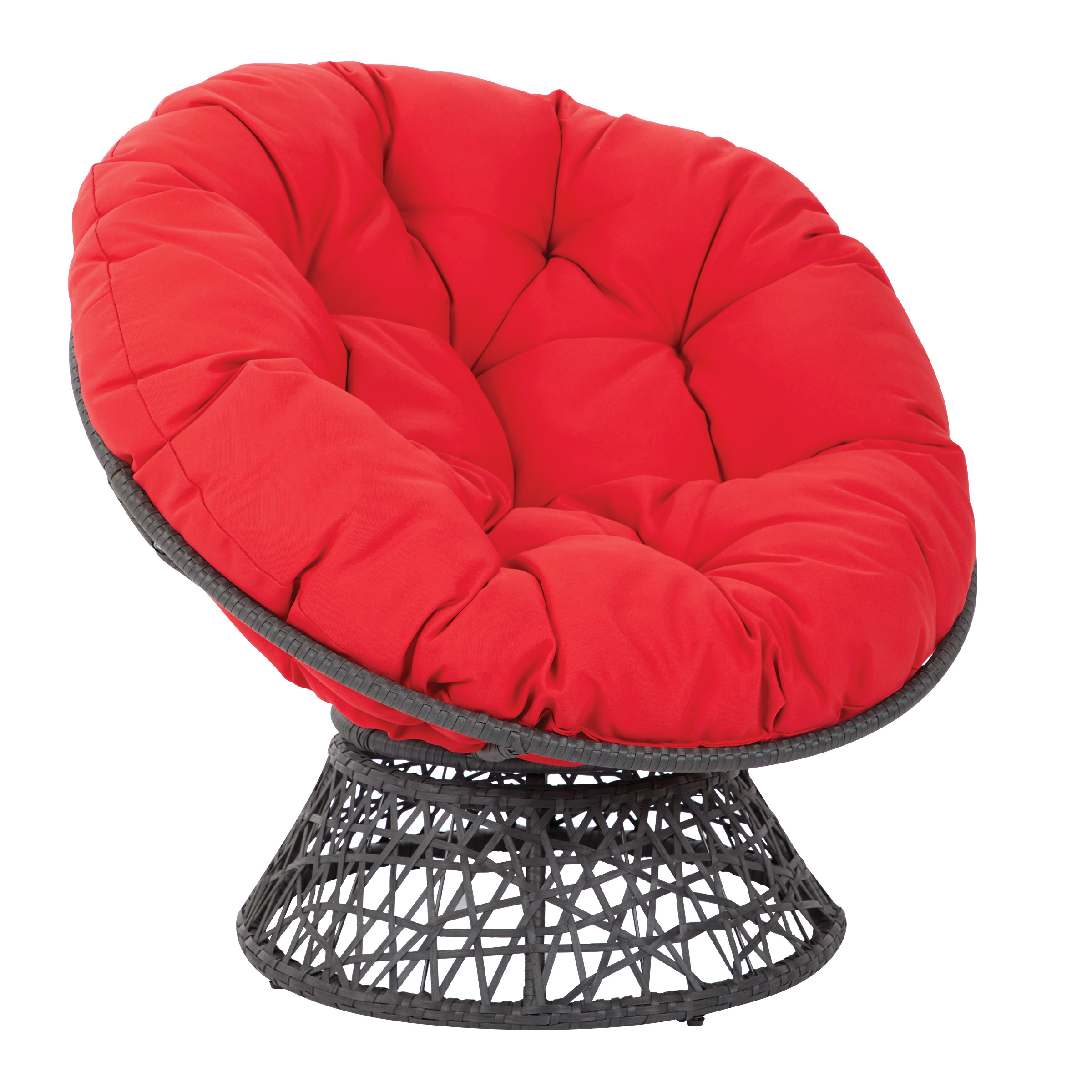 OSP Designs By Office Star Products Papasan Chair With Red Cushion And  Black Frame
