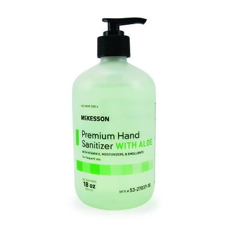 McKesson Premium Hand Sanitizer  with Aloe 18 oz. Ethanol Gel Pump Bottle, 2 Pack