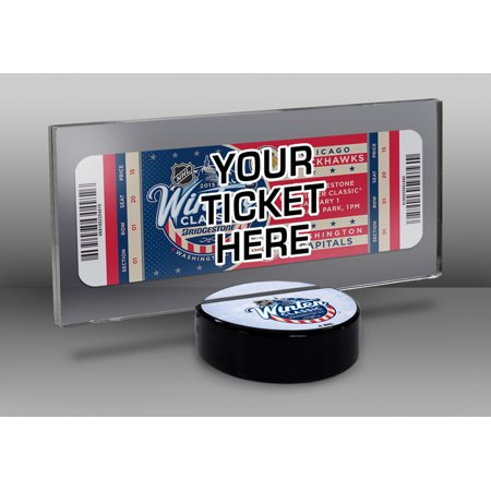 (2015 NHL Winter Classic Hockey Puck Base Ticket Display Stand - Blackhawks vs Capitals)