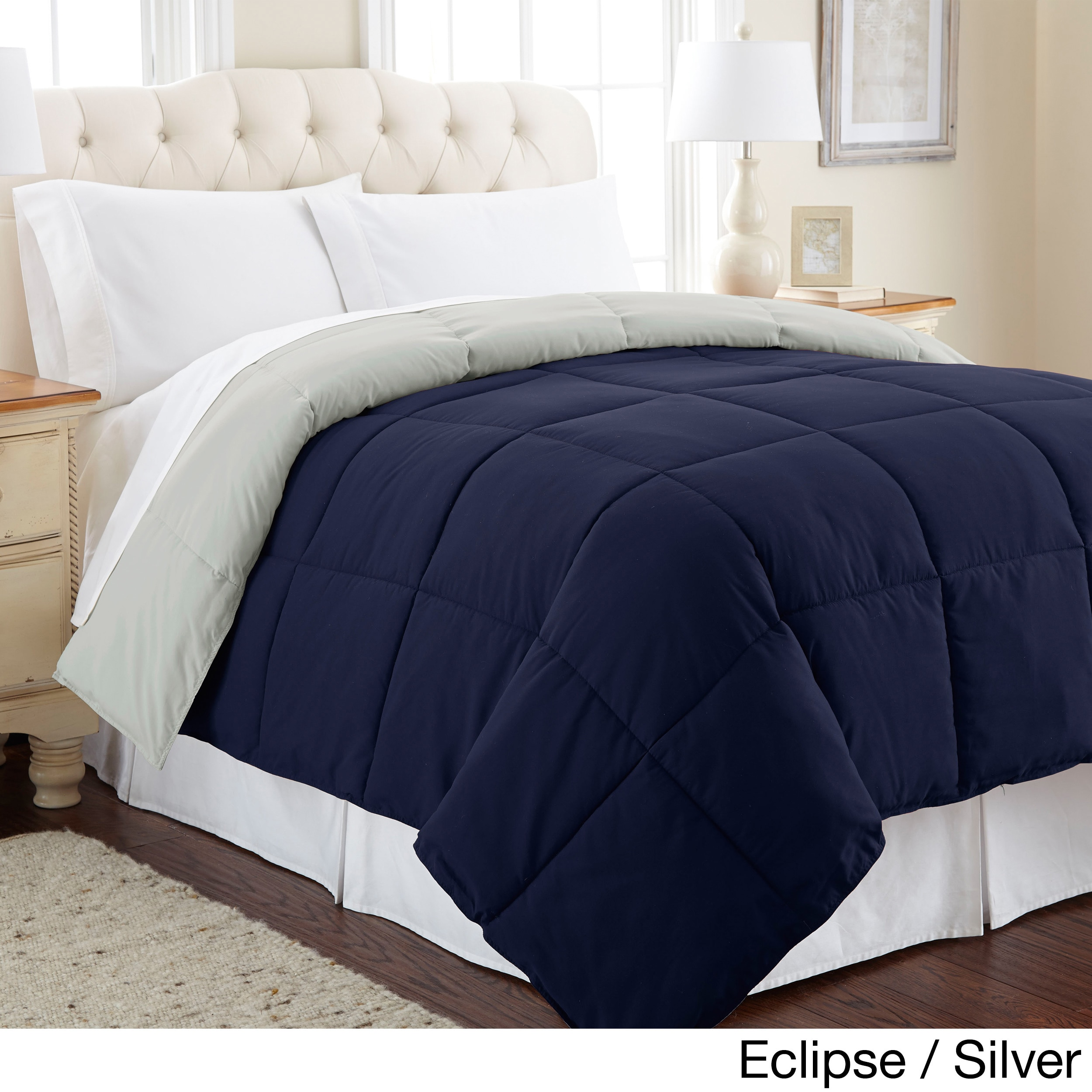 All Season Reversible Down Alternative Microfiber Comforter Eclipse/Silver - Twin