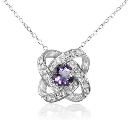Birthstone Gemstone Sterling Silver Love Knot Necklace Chic Sterling Silver Love Knot