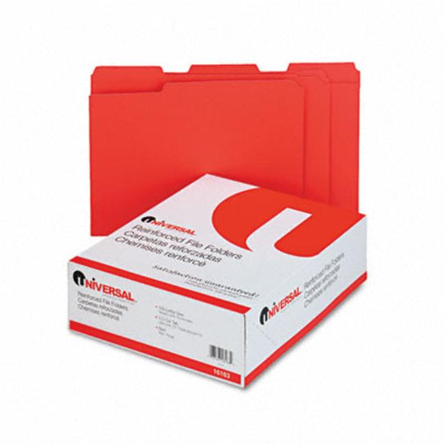 Colored File Folders- 1/3 Cut Assorted- Two-Ply Top Tab- Letter- Red- 100/Box