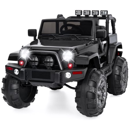 Best Choice Products 12V Kids Electric Battry-Powered Ride-On Truck Car RC Toy w/ Remote Control, 3 Speeds, Spring Suspension, LED Lights, AUX - (Best Car Products For Black Cars)