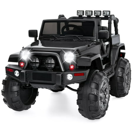Best Choice Products 12V Kids Electric Battry-Powered Ride-On Truck Car RC Toy w/ Remote Control, 3 Speeds, Spring Suspension, LED Lights, AUX - (Best 4 Wheel Drive Cars 2019)