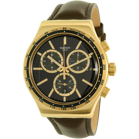 Swatch-Mens-Chrono-YVG401-Brown-Leather-Swiss-Quartz-Fashion-Watch