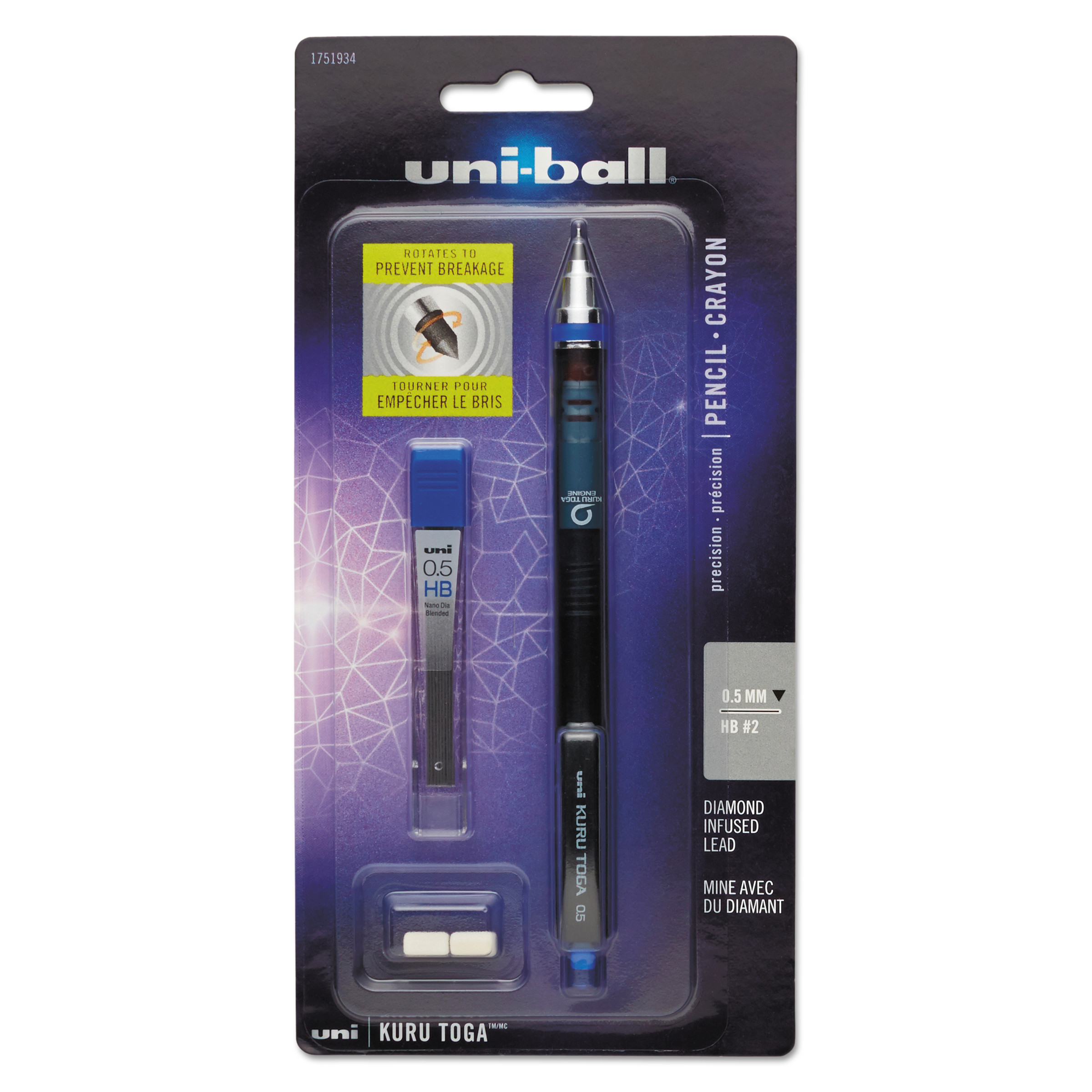 Uni-ball Kurutoga Mechanical Pencil + Erasers and Lead, Fine Point 0.5 mm, #2 HB, Black, 1-Count
