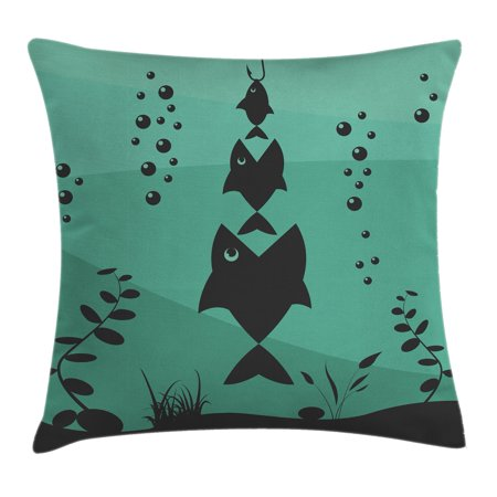 Fishing Decor Throw Pillow Cushion Cover, Big Fish Eats Little Small in Bubbles Underwater Ocean Symbolic Icons Theme, Decorative Square Accent Pillow Case, 16 X 16 Inches, Teal Grey, by Ambesonne ()
