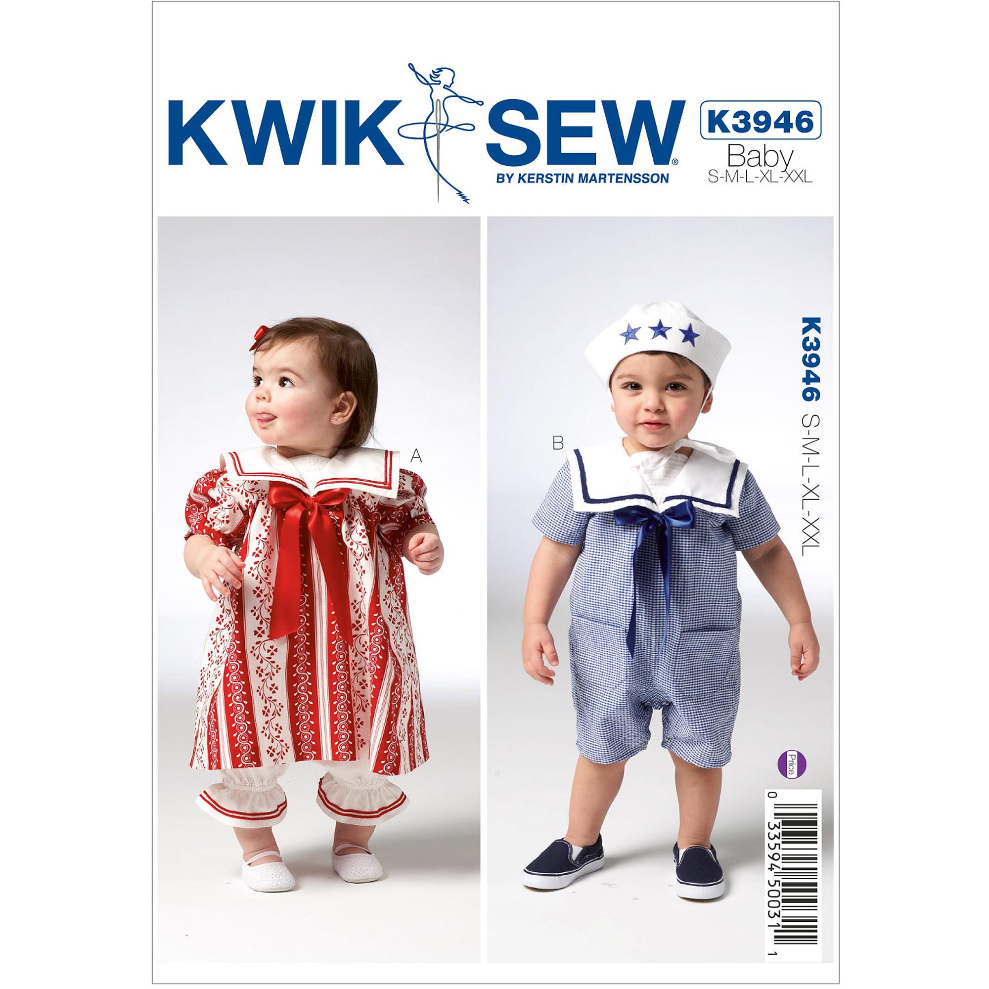 Kwik Sew Pattern Baby's Bloomer, Dress, Shorts and Hat, (S, M, L, XL, XXL)