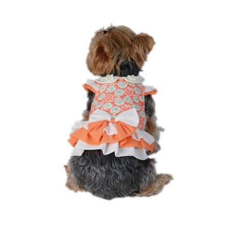 White Orange Flora Printed Dress Pet Clothes Apparel For Dog - Small (Holiday Christmas Gift for Pet)