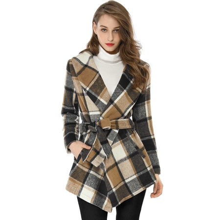 Women's Turn Down Collar Asymmetric Hem Worsted Plaids Wrap Warm Coat Brown XL (US 18)