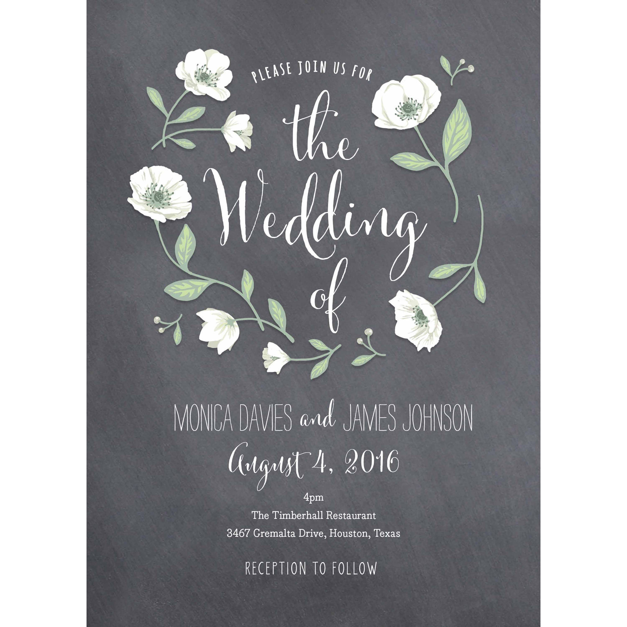 Wedding Flowers Standard Wedding Invitation