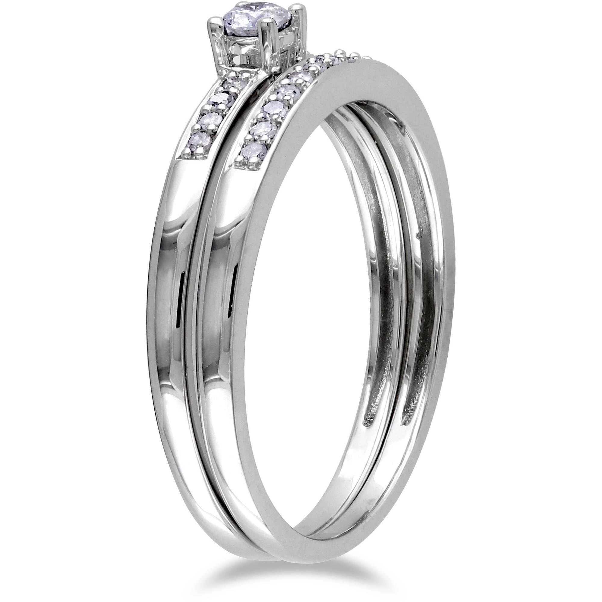 Miabella 1 5 Carat T W Diamond Sterling Silver Bridal Set