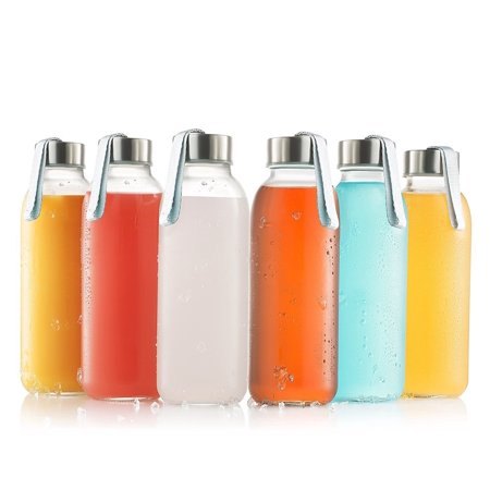 Glass Bottles 6 Pack 16oz - Water Bottle Glass With Stainless Steel Caps With Carryin