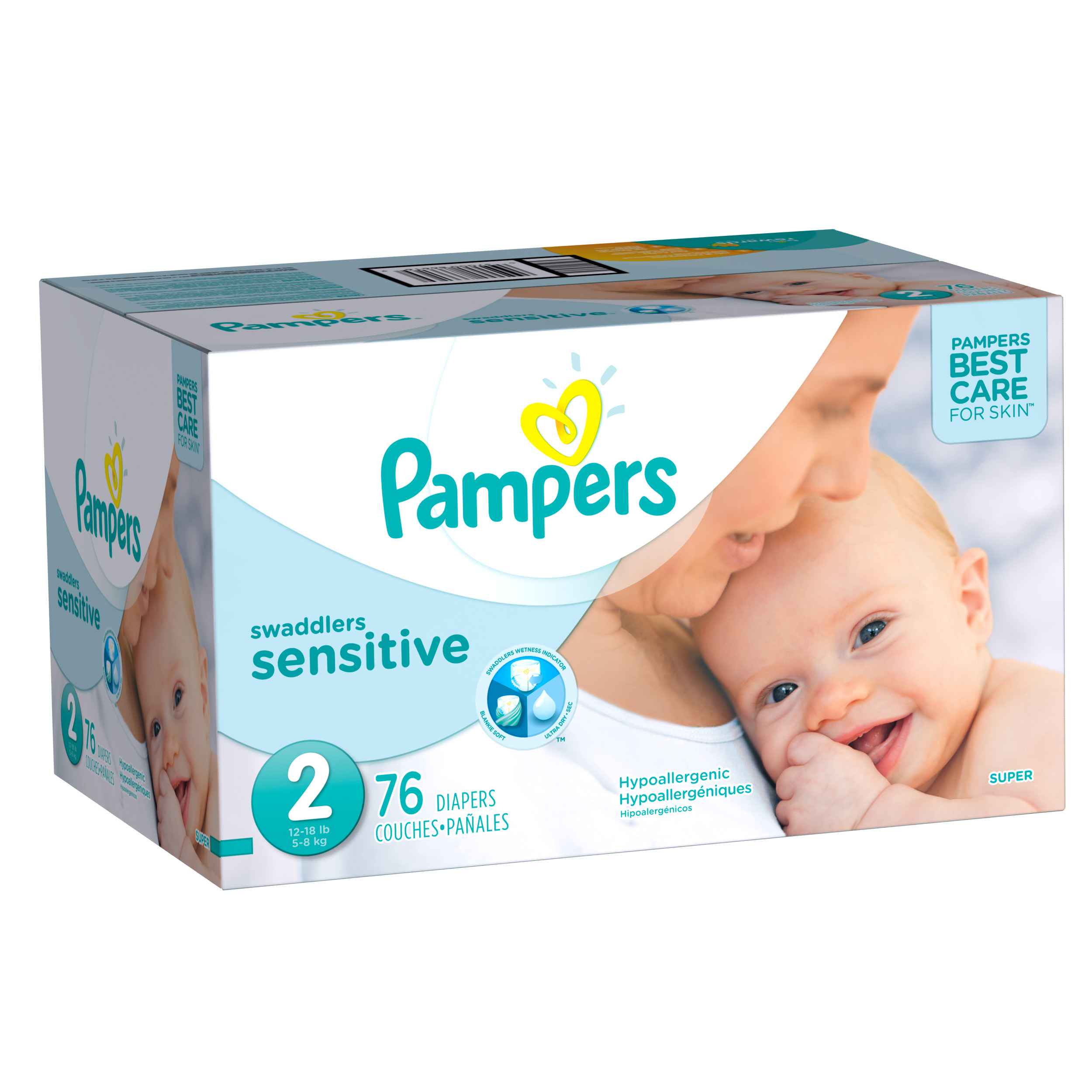 Pampers Swaddlers Sensitive Diapers Size 2, 76 count