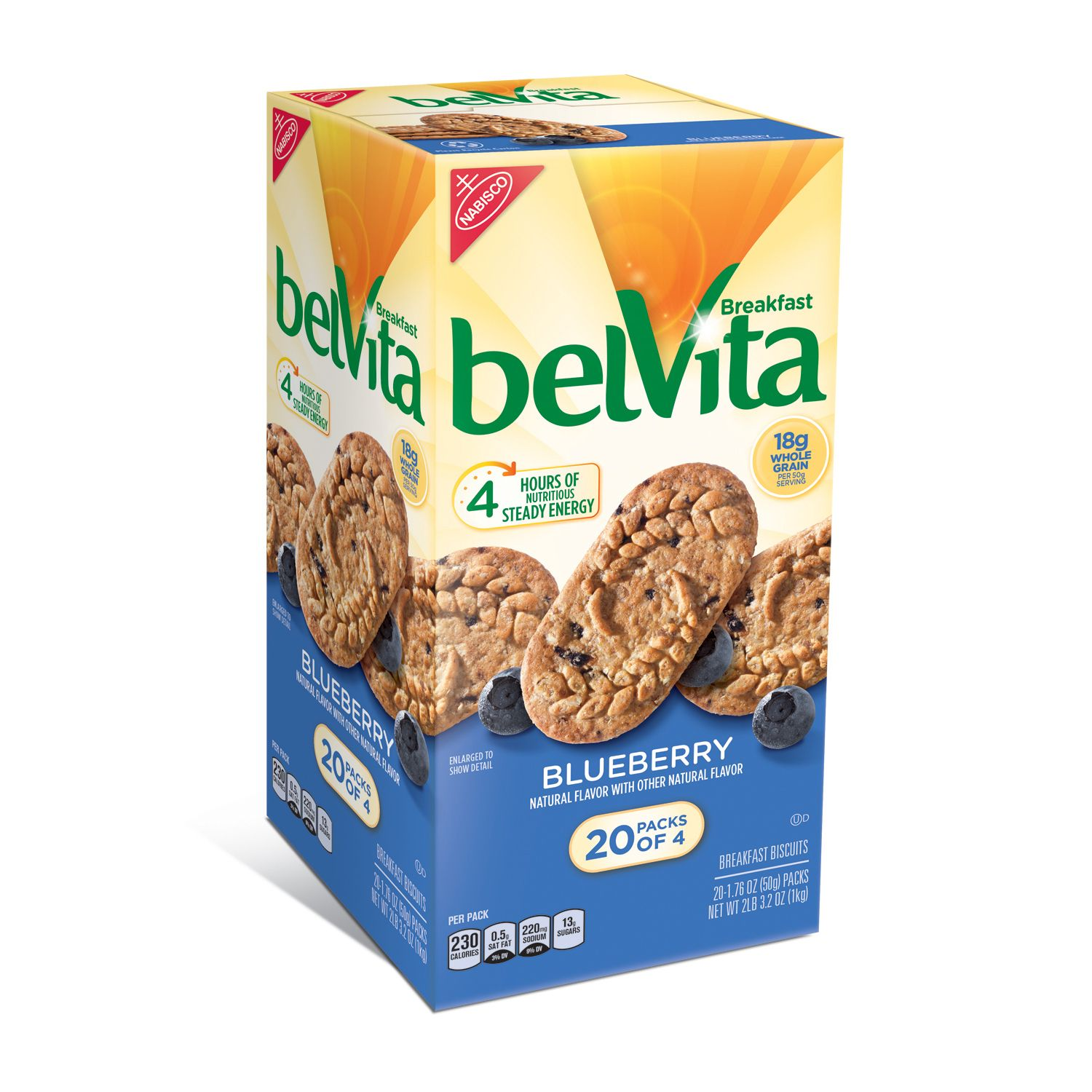 belVita Breakfast Biscuits Blueberry 4 Packs, 1.76 oz, 20 Count