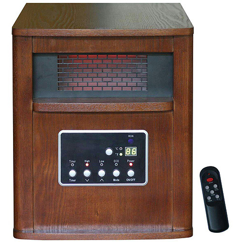 Global Air Large Room Infrared Quartz Heater with Wood Cabinet and Remote