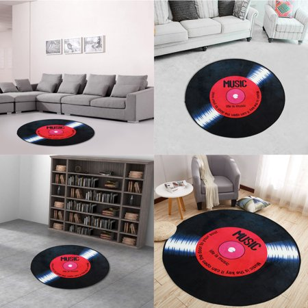 Music Rug (120cm Round Life is Music Long-play Vinyl Record Floor Mat Bedroom Carpet Living Room Area)