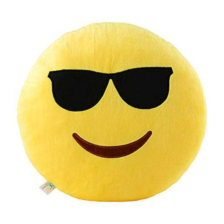 Cool Glasses Emoji Pillow 12.5 Inch Large Yellow Smiley Emoticon - Cool Glasses Emoji