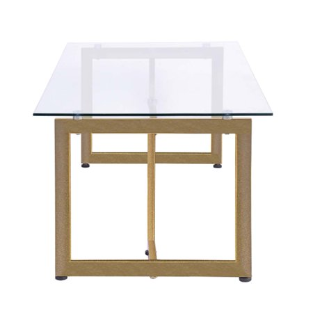 Topcobe Coffee Table Modern Tempered Glass Clear Small Side Table