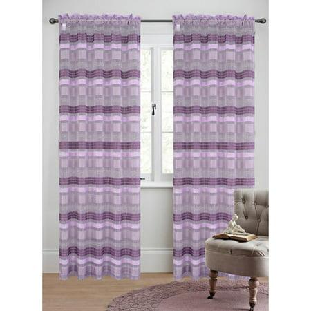 Urbanest Becca Striped Sheer Rod Pocket Curtain Panels (Set of 2) (Becca Sheer)
