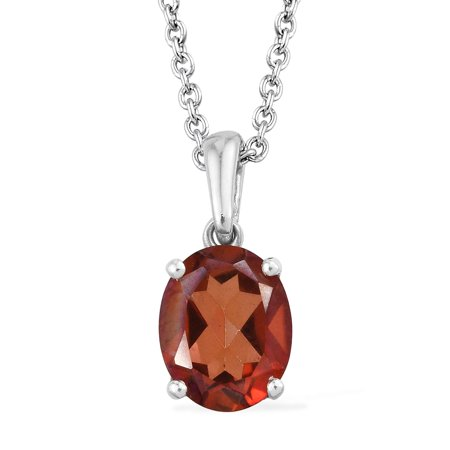 - Red Minx Quartz Platinum Plated Silver Solitaire Gift Chain Pendant Necklace 2 Cttw Size 20