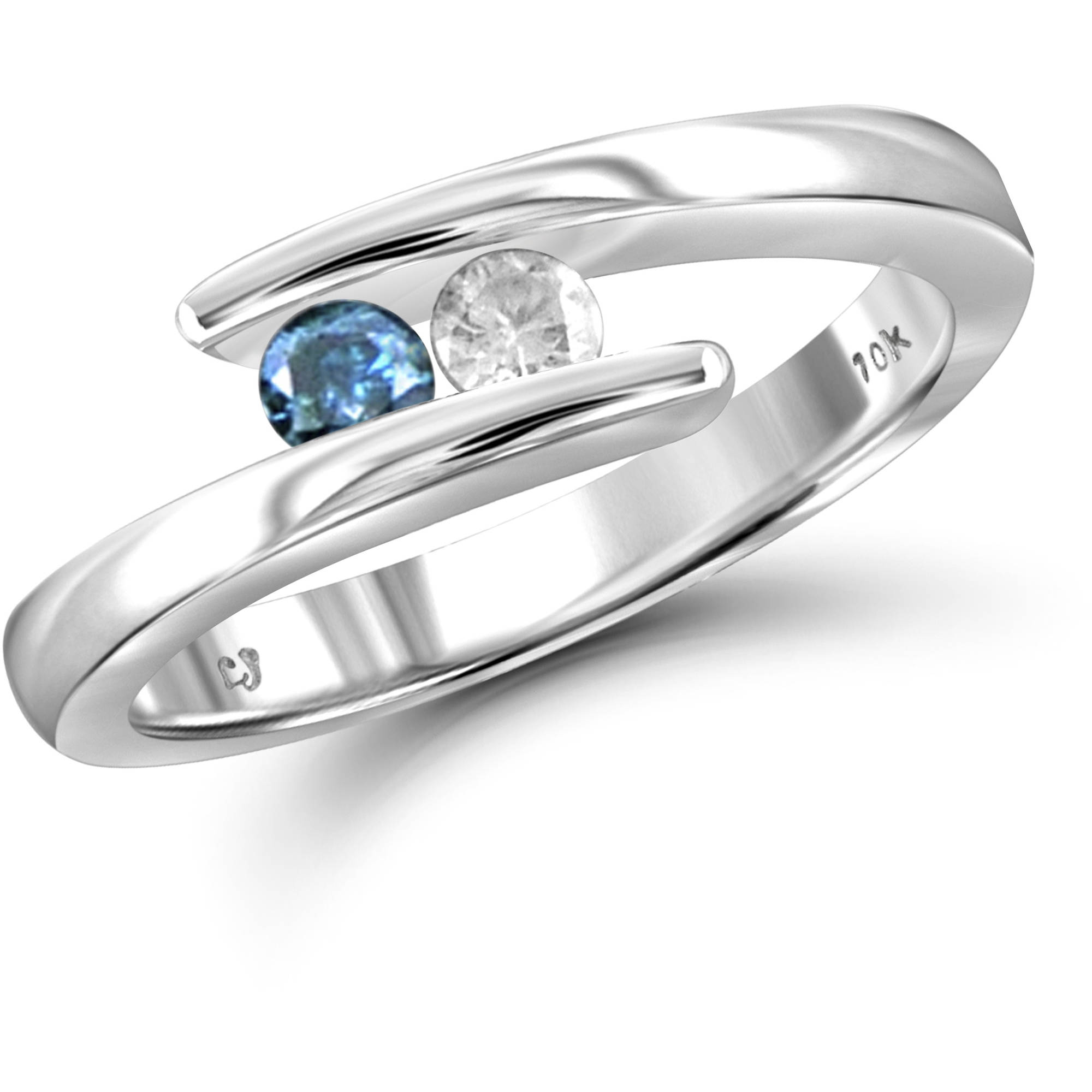 JewelersClub 1/4 Carat T.W. Round-Cut Blue and White Diamond 10kt White Gold Two-Stone Ring