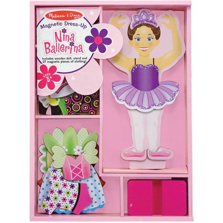 Melissa & Doug Doll Clothing - Melissa & Doug Deluxe Nina Ballerina Magnetic Dress-Up Wooden Doll With 27 Pieces of Clothing