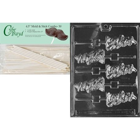 Cybrtrayd 45St50-H053 Witch Broom Lolly Halloween Chocolate Candy Mold with 50 4.5-Inch Lollipop Sticks (Halloween Witches Broom)