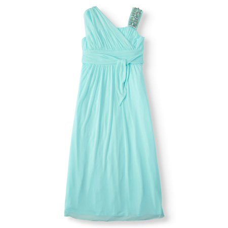 Asymmetrical Jewel Shoulder Long Occasion Dress (Big Girls) - Long Dress Girl