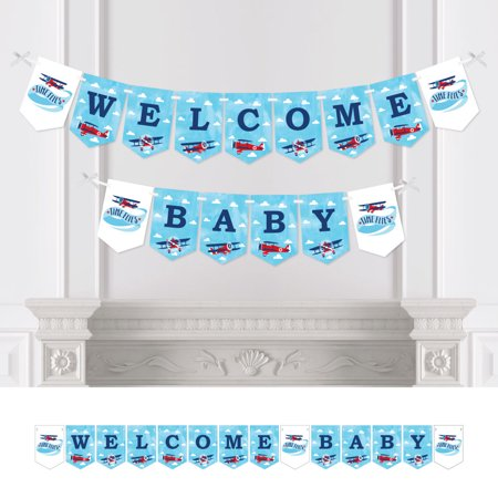Airplane Baby Shower (Taking Flight - Airplane - Vintage Plane Baby Shower Bunting Banner - Party Decorations - Welcome)