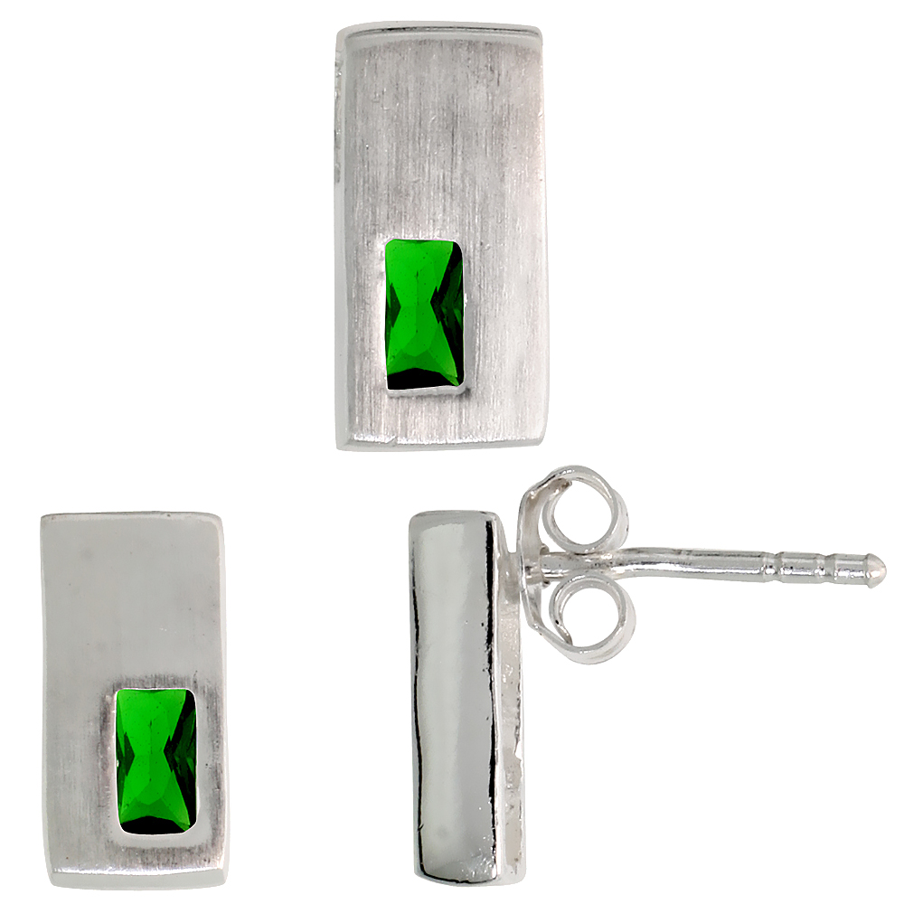 Sterling Silver Matte-finish Rectangular Earrings (11mm tall) & Pendant Slide (11mm tall) Set, w/ Emerald Cut Emerald-colored CZ Stones