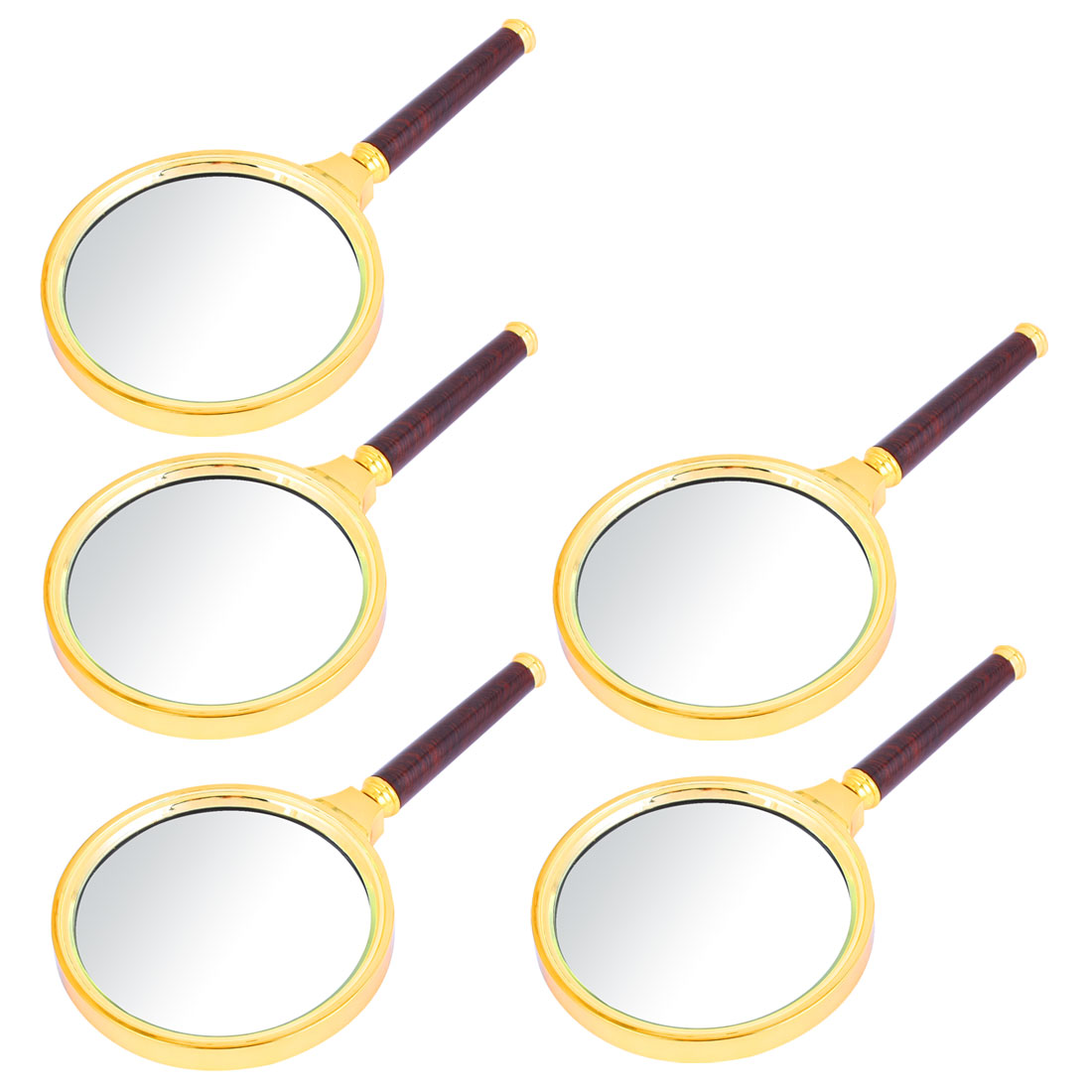 5PCS Detachable Wooden Handle 90mm Dia Magnifying Glass Magnifier Gold Tone 10X