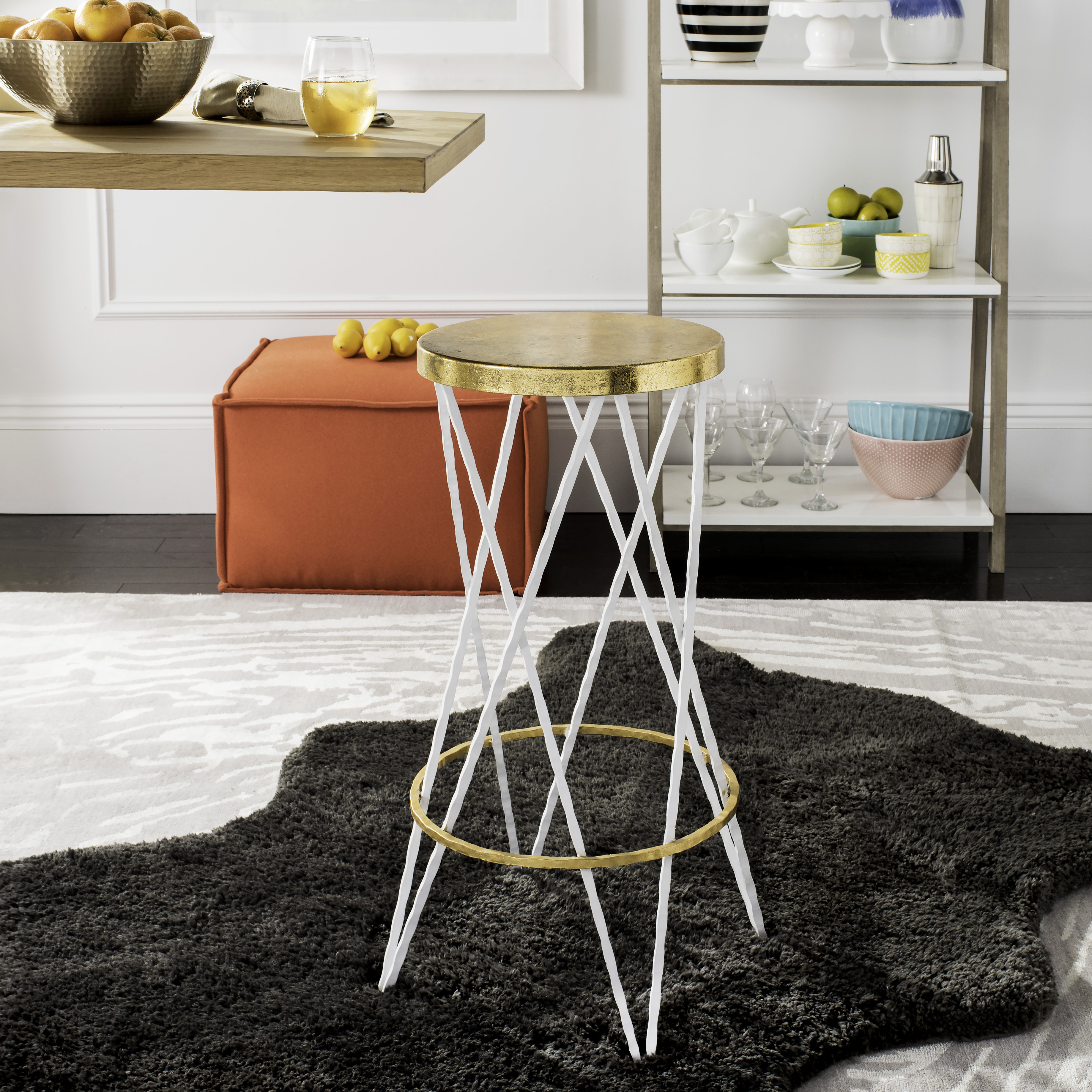 Safavieh Hester Mid-Century Retro Round Top Bar Stool