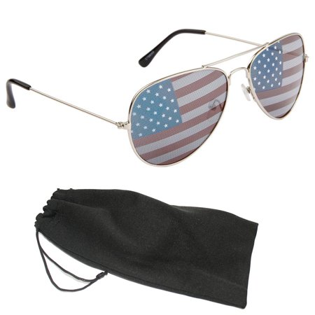 New American Flag Pilot Sunglasses USA July 4th Independence Day Silver (Flat Sunglasses)