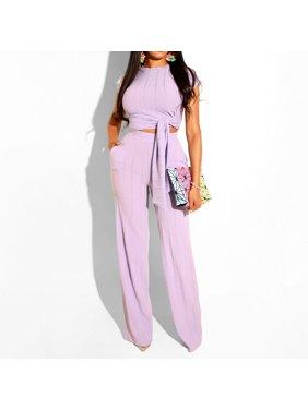 Women 2 Piece Outfits Short Sleeve Crop Top Pant Set Slim Casual Jumpsuit