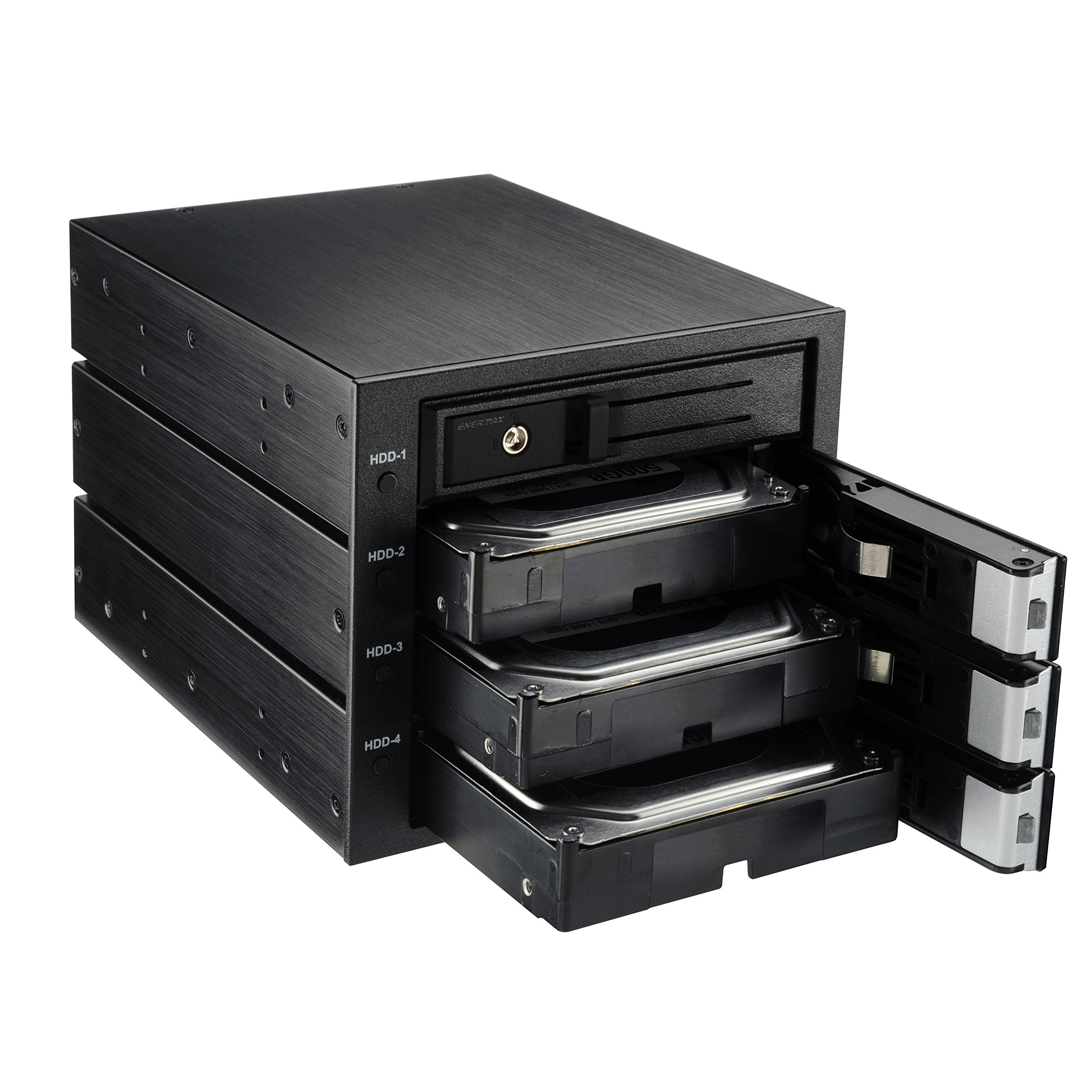 "Enermax Emk5501 Drive Enclosure - Black - 5 X Total Bay - 5 X 3.5"" Bay - Serial Ata/600, Sas - Aluminum - Cooling Fan - 5.25"" (emk5501)"