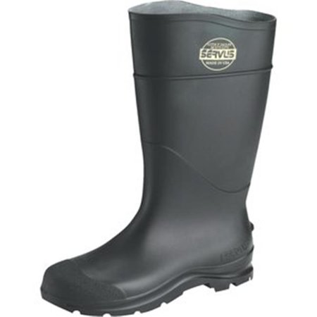 Servus 617-18822-BLM-120 PVC Rubber Boot with Steel Toe, Size 12 - Black