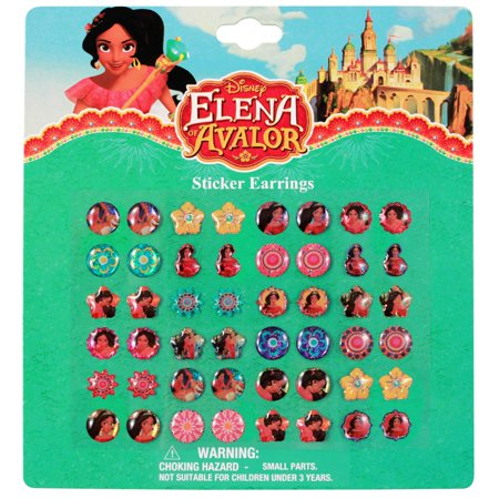 Disney Elena of Avalor Earrings Set - 24 Pair Sticker on Earrings - Sticker Earrings