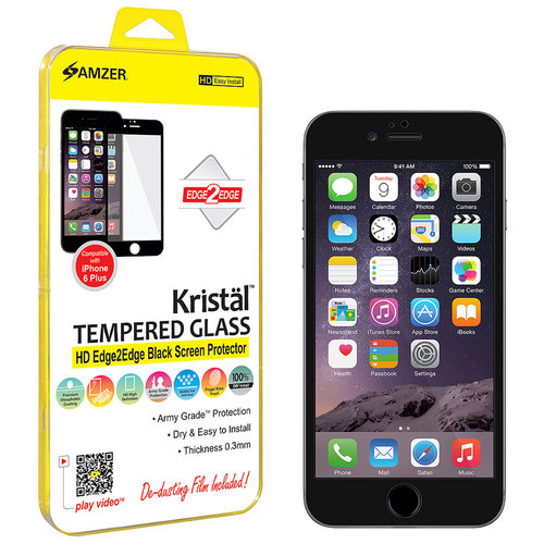 Amzer Kristal Tempered Glass HD Edge2Edge Black Screen Protector