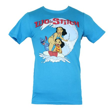 Lilo and Stitch Mens T-Shirt - Happy Wave Riding Image