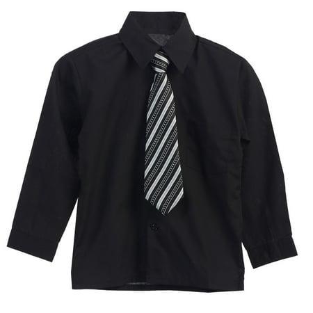 Big Boys Black Stripe Tie Long Sleeve Button Special Occasion Shirt